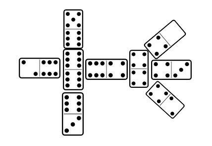 Chicken Foot dominoes play with double tiles